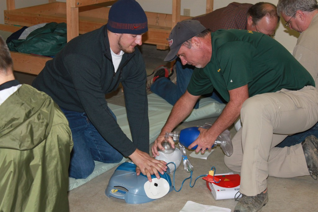 Two Rescuers do CPR and AED