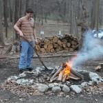 Ryan stokes the fire